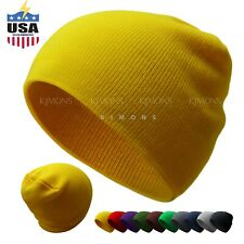 Short Beanie Plain Knit Hat Winter Solid Cuff Cap Slouchy Skull Ski Men Woman