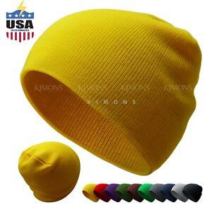 Short Beanie Plain Knit Hat Winter Solid Cuff Cap Slouchy Skull Ski Men Woman
