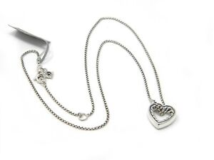 """David Yurman 16-17"""" Engravables Open Heart Necklace in Sterling Silver NWT"""