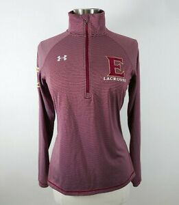 Under Armour Womens Loose Fit Heat Gear LS 1/4 Zip Maroon Shirt Small E LACROSSE