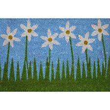 Bayliss GARDEN PATTERN COIR DOOR MAT PVC Back 40x60cm, SIX WHITE FLOWERS DESIGN