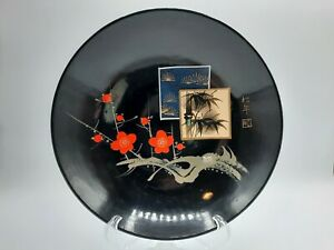 """Vintage Japan Black Lacquer Bowl Dish with Cherry Blossom Bamboo 7.75"""""""
