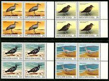PAPUA NEW GUINEA - 1990 MIGRATORY BIRDS Set of 4 Cnr Blocks MNH SG624-27 [B1710]
