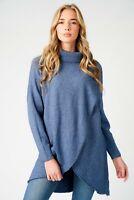 Ladies Italian Winter Lagenlook Long sleeve Cowl Neck Crossover Tunic Jumper Top