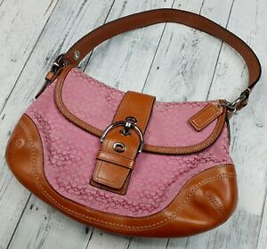 Coach Soho Leather Signature Jacquard Flap Purse  F10926 Pink w Brown Leather