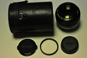Nikon Noct-Nikkor 58mm f1.2 AI manual focus lens with filter, caps and case.
