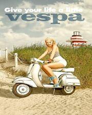 "10"" x 8"" Vespa Scooter Mods Brighton pas Lambretta Plaque Métal Tin Signe N109"