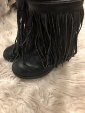 Ugg Australia Fringe Leather Boots Black Toddler Girls Size 9