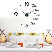 DIY Wall Clock 3D Wall Sticker Clock Silent Home Decor Acrylic Quartz Horloge