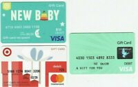 Credit Debit Charge Gift Cards - LOT of 3 Diff / Baby - Zero Balance / No Value