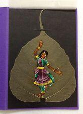HANDPAINTED HINDU DANCER on a BODHI LEAF from TRPPAADAM, INDIA GREETING CARD