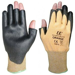 Kutlass Orange PU300 open thumb and first 2 fingers pack of 5 work gloves