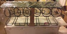 "Wrought Iron Wine Bottle & Glasses Wall Mounted Hanging Organizer Rack 27x9x10"""