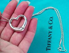 Tiffany & Co Elsa Peretti Sterling Silver 27mm Open Heart Pendant Necklace