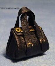 Black Handbag, Doll House Miniatures, Doll Accessory 1.12th Scale Bag
