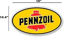"""(PENN-2) 18"""" PENNZOIL OIL LUBSTER front DECAL GAS PUMP SIGN GASOLINE"""