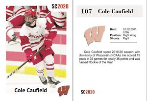 2020 SC Cole Caufield RC Rookie University of Wisconsin Montreal Canadiens