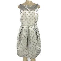 NEW Eliza J Size 10 V-Back Fit Flare Polka dot Evening Party Dress