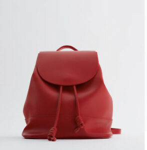 ZARA red BACKPACK WITH FLAP AND KNOTS new with tags