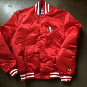 Men's Vintage 80's Champion Bakersfield BC Renegades Satin Bomber Jacket Sz XL