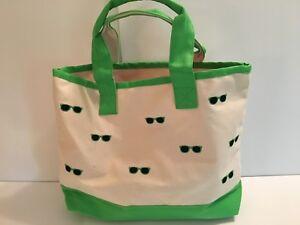 Green Sunglasses CANVAS beach cotton Small Medium tote bag EMBROIDERED beige NEW