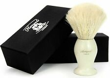 Pure White Badger Hair Shaving Brush Handmade with Anti-Moisture Brass Handle
