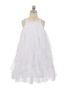 New Flower Girls White Mesh Ruffle Dress Size 14 Easter Wedding Party Graduation