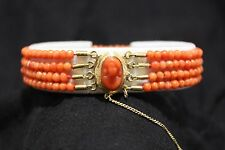 Carved coral cameo 4 string coral beaded bracelet 14kt gold, approx 7.5 inches