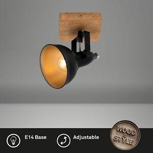 500x110x157mm Deckenspot retro max Briloner Leuchten Schwarz-Gold 25 Watt LxBxA Spotleuchte Spots dreh- und schwenkbar Deckenleuchte vintage 3x E14 Metall-Holz