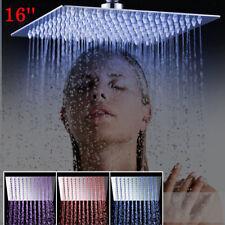"16""Bathroom Shower Spray Head Chrome  Ceiling Mount Rainfall LED Spout Faucet"