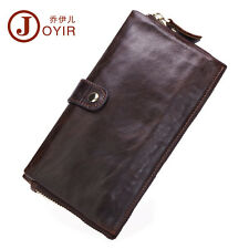 Men Cowhide Zip Clutch Checkbook Handbag Long Snap Button Wallet ID Coin Purse