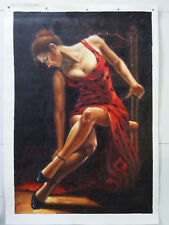 100%Hand Painted Figure Lady Dancing Oil painting on canvas Wall art 24x36inch