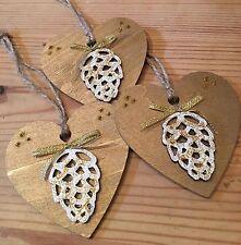 3 x DECORAZIONI NATALIZIE fatte a mano shabby chic legno cuore Pigna con fiocco Oro