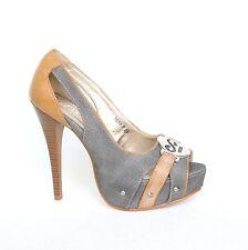Plataforma tacón alto zapatos de salón 39 gris zapatos señora sandalias con tiras nuevo 9658-p.