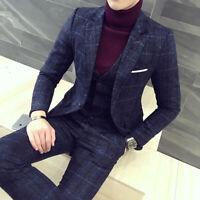 Blue Plaid Men Suit Tweed Grooms Tuxedo Wedding Prom Party Dinner Formal Suit