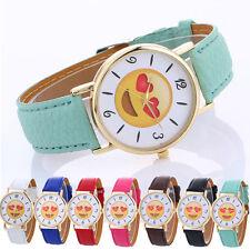 Women Men Neutral Cute Expression Casual Gold Leather Strap Quartz Wrist Watch