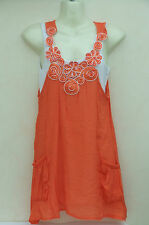 IZABEL ❤ 2 in 1 ORANGE White BOHO GYPSY Long TOP with VEST ❤ KAFTAN S 8 36 BNWOT