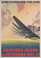 Aeronautica - (3) Crociera Aerea del Decennale, 1933-XI, non viaggiata.