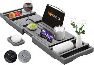 Grey Bath Tray Caddy Bamboo Bathtub Organizer Tablet Holder Adjustable Rack Wine