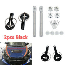 Auto Racing Car Alloy Mount Bonnet Hood Pin Lock Kit Hood Locks Pins Black 2pcs