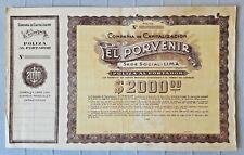 PERU insurance policy on bearer 2000$ lottery bond El Porvenir capitalisation