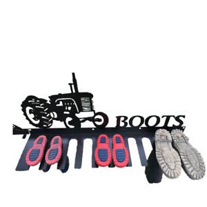 Boot Rack 5 Pair Wellies Tractor Metal Design
