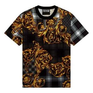 NWT VERSACE JEANS COUTURE T-SHIRT WITH TARTAN BAROQUE PRINT 71GAH6R6 JS025