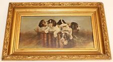 ANTIQUE BASKET FULL OF PUPPIES/DOG OIL PAINTING