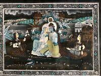 Original Vintage Indian Miniature Silk Painting India Hindu God Krishna Large
