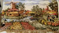 Vintage Tapestry Wall Hanging Holland scene windmills tulips