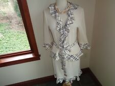 St John Collection Santana Skirt Suit Size 8 Plaid Trim Ruffles Belted