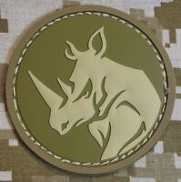 RHINO HEAD PVC TACTICAL MILITARY MORALE USA ISAF ARMY DESERT HOOK PATCH