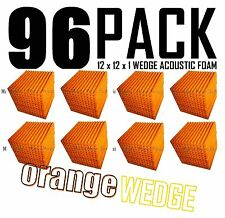 Acoustic Foam Orange 96 Pack 12x12x`1 Wedge Tiles for Recording, Soundproofing