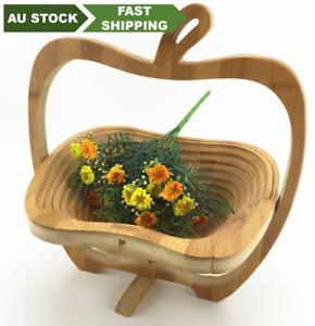 bamboo folding basket Apple fruit basket gift creative wooden artwork 竹制水果折叠篮